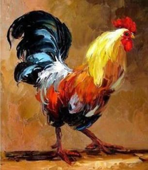 100% hand oil painting One of the twelve zodiac animals in China: chicken oil painting, sculpture, arts and crafts