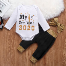CYSINCOS My First New Year 2020 Baby Clothes Newborn Infant Girls Boys Happy New Years Romper+Pants+Hairbands Toddler Clothes(China)