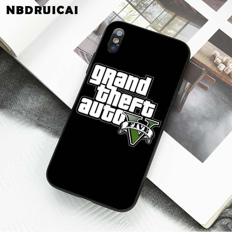 Nbdruicai rockstar gta 5 grande roubo recém chegado preto caso de telefone celular para iphone 11 pro xs max 8 7 6 6splus x 5 5S se xr caso