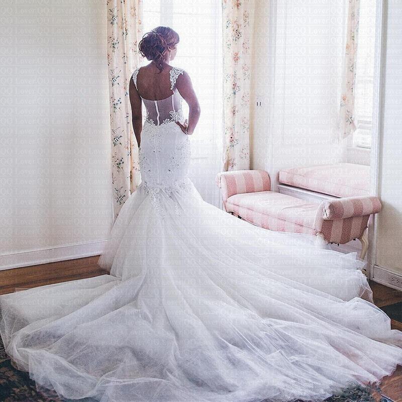 Amazing V Neck Mermaid Wedding Dress 2019 Sheer Sweep Train African Backless Wedding Gown Bride Dress