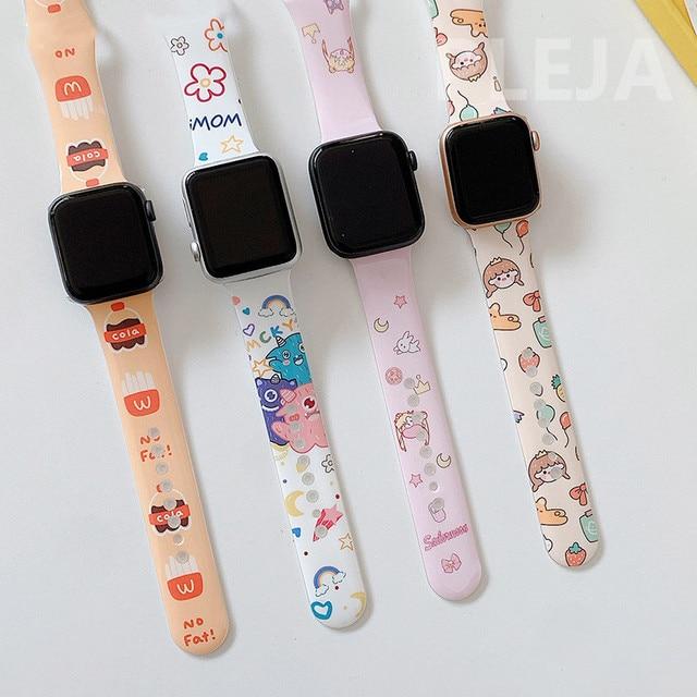 Bracelet en Silicone dessin animé mignon pour Apple Watch, 44mm 40mm 38mm 42mm pour IWatch série 6 5 4 3 2 1, Bracelet à boutons