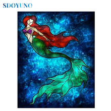 SDOYUNO  Full square/round 5d DIY Diamond Painting Mermaid rhinestone pictures Cross Stitch Diamond embroidery Mosaic sdoyuno full square round landscape 5d diy diamond painting rhinestone pictures mosaic cross stitch diamond embroidery