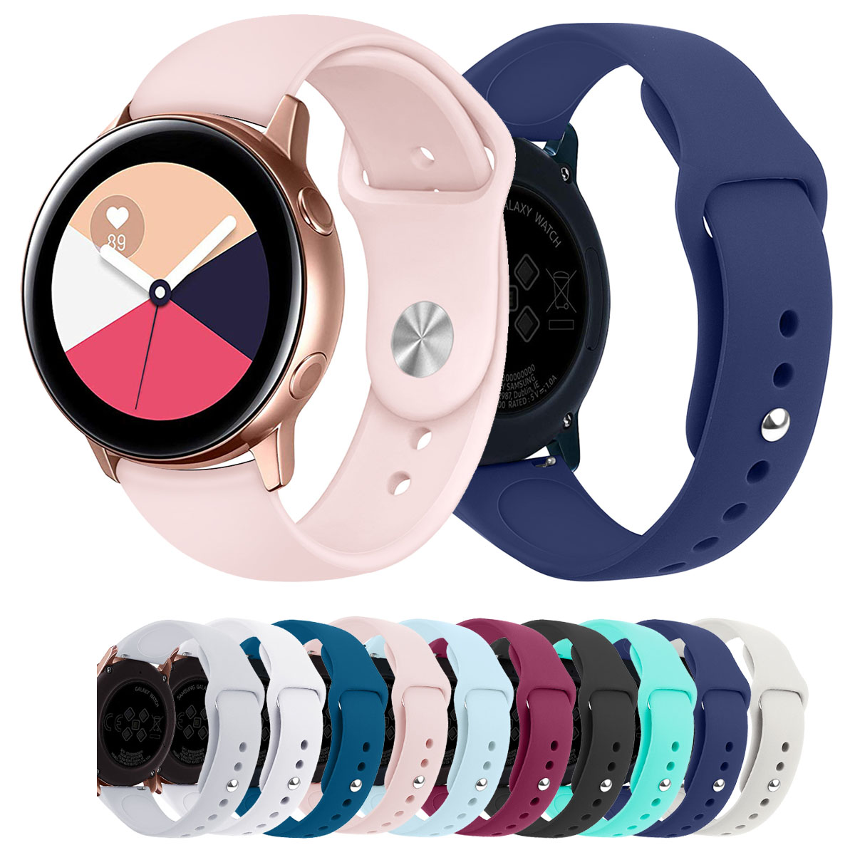 20mm Silicone Sport Strap Band For Samsung Galaxy Watch Active Watch Strap For Galaxy Watch 42mm Band Gear S2 Classic Bracelet