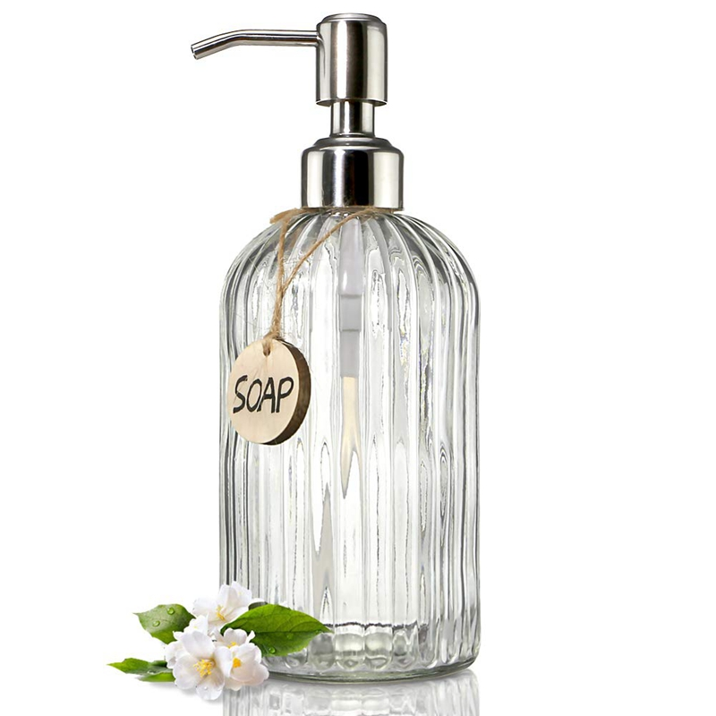 Glass Soap Dispenser With Rust Proof Stainless Steel Pump, Refillable Liquid Hand Soap Dispenser For Bathroom, Kitchen Soap Disp