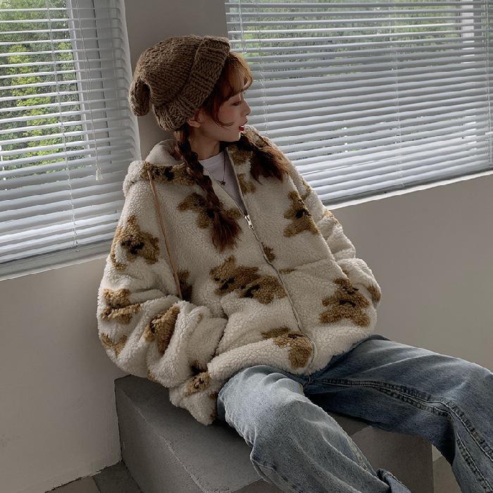 Толстовка Женская с рисунком мишки, корейское мягкое пальто большого размера из искусственного меха, на молнии, утепленное теплое худи с ка...
