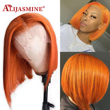 Short Bob Wigs Ginger Orange Wigs Left Side Part Brazilian Remy Bob 13X6 Lace Front Human Hair Wigs For Women 150% Density(China)