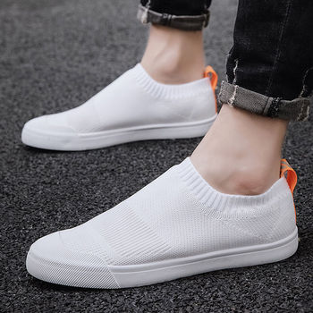 Mens Shoes Summer Breathable Flat Casual Shoes Fashion Loafers Sock Shoes Light Men Sneakers White Shoes Walking Shoes Tenis