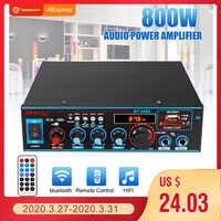 800W 600W coche Amplificador HIFI 2 CH Amplificador DE POTENCIA DE audio 12/220V casa teatro Amplificador de Audio compatibilidad con fm USB SD/Control remoto