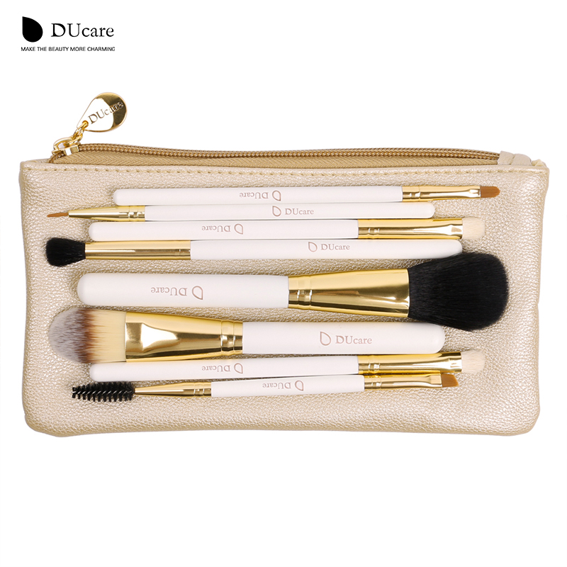 DUcare 8PCS Makeup Brushes Natural Hair Makeup Brush Set With Bag Foundation Powder Brush Eyeshadow Brushes  Travel Makeup Set