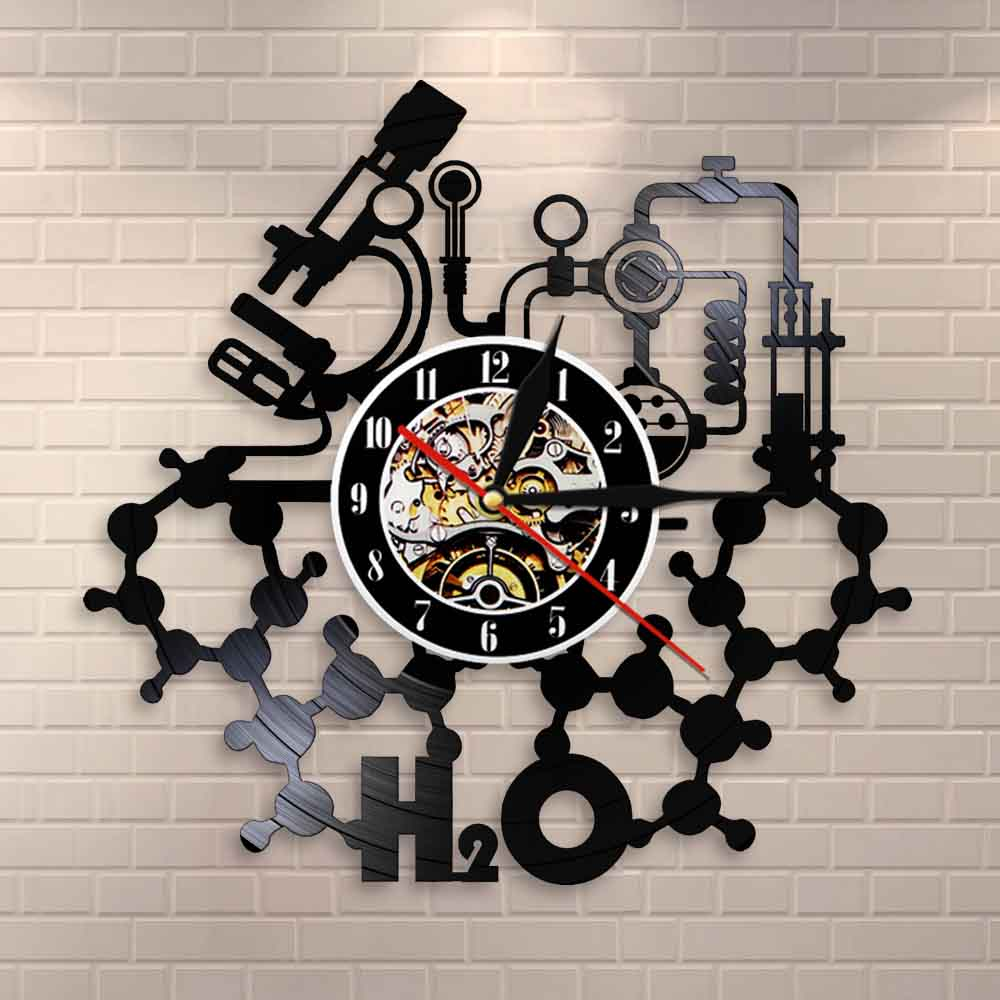 Chemistry Experiments Wall Clock Science Laboratory Decoration Periodical Elements Table Wall Art Retro Vinyl Record Wall Clock