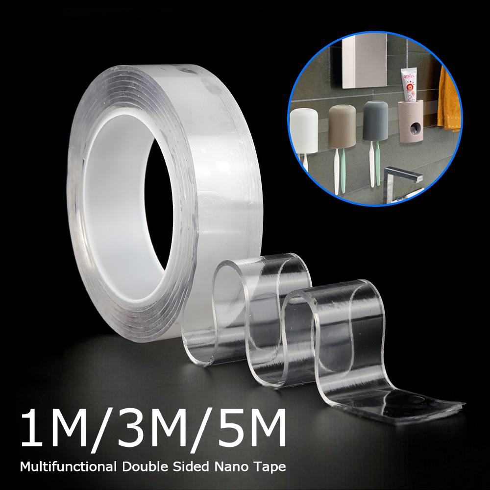 1 Roll Transparent Double-sided Tape Washable Acrylic Fixing Tape Nano Tape No Trace Magic Car Reusable Double Sided Tape