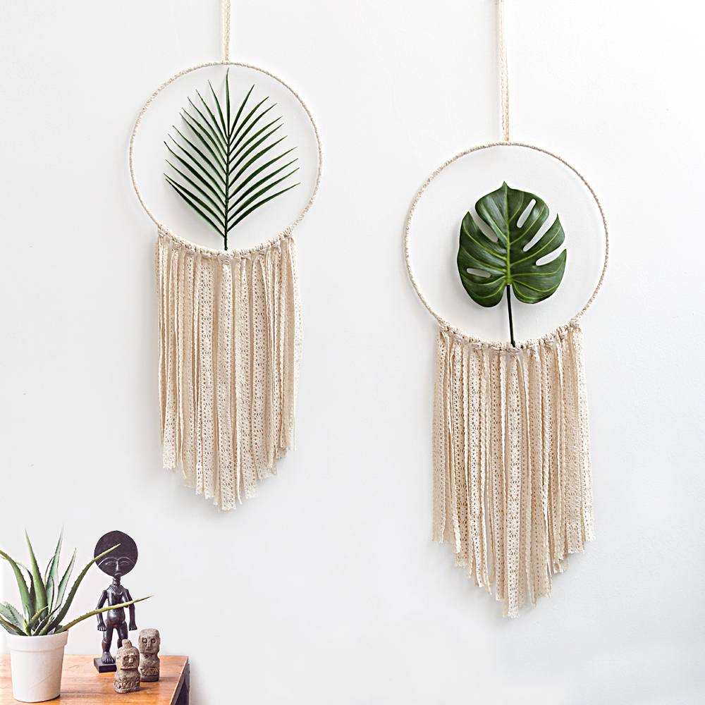 2pcs Set Macrame Cotton Mandala Tapestry Wall Hanging Hand-woven Turtle Leaf Living Room Bedroom Decoration Wedding Decoration
