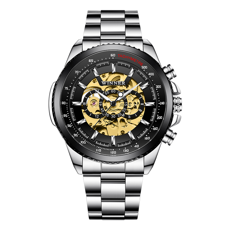 Winner Sport Design Bezel Golden Watch Mens Watches Top Brand Luxury Montre Homme Clock Men Steampunk Automatic Skeleton Watch
