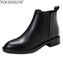 Genuine Cow Leather Ankle Boots Women Autumn Winter Woman Low Square Heels A314 Fashion Lady Soft Leather Round Toe Black Shoes цены онлайн