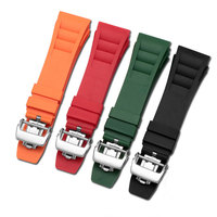 Nature Soft Rubber Silicone men watch band black gray red white yellow orange blue strap for Richard Miller RM011