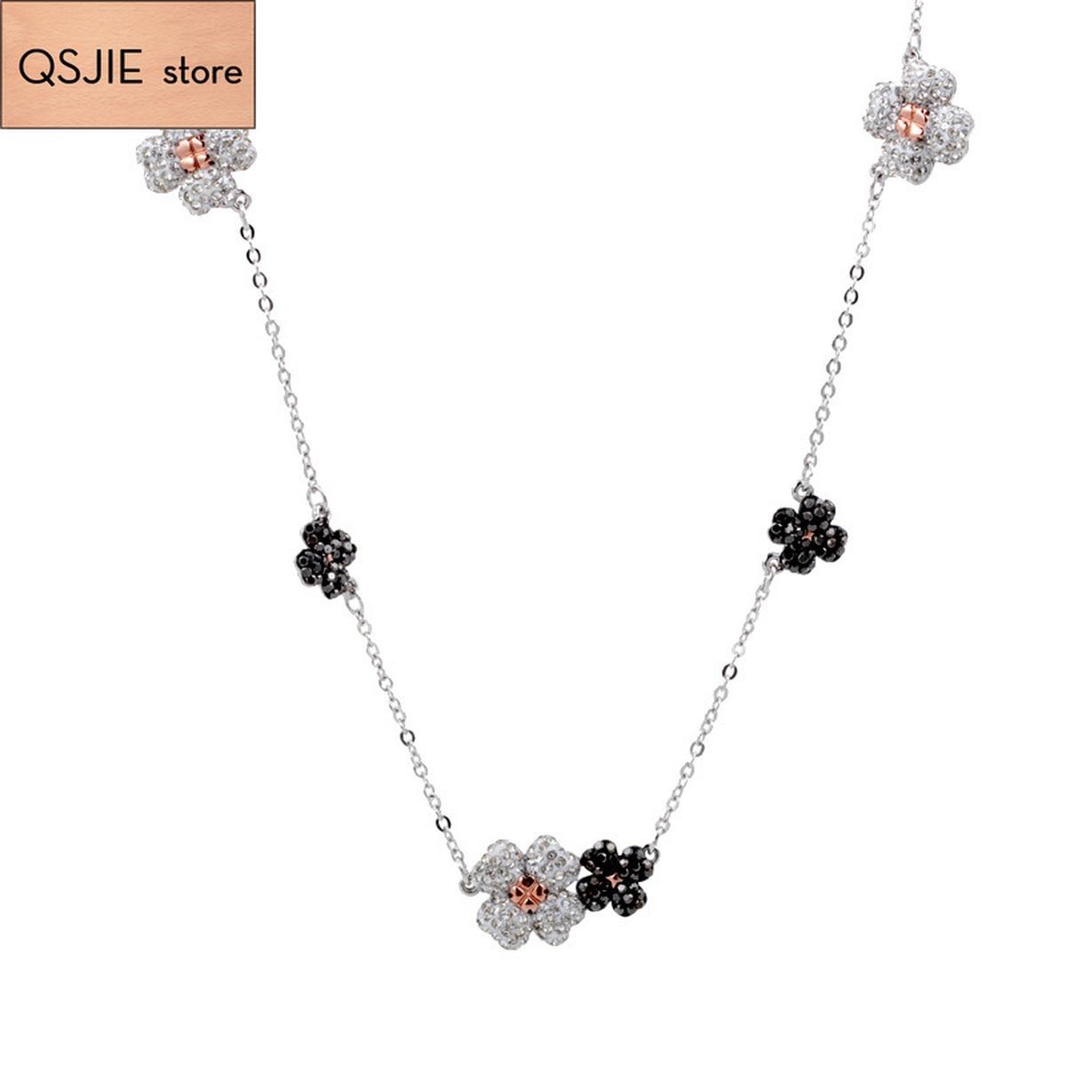 QSJIE High Quality SWA New Austrian Crystal Double-sided Tetrafolium Flower Necklace Glamorous fashion jewelry