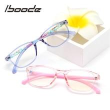 Iboode-lunettes ovales pour enfant Anti-lumière bleue, rétro, monture, miroir plat, pour garçon et fille
