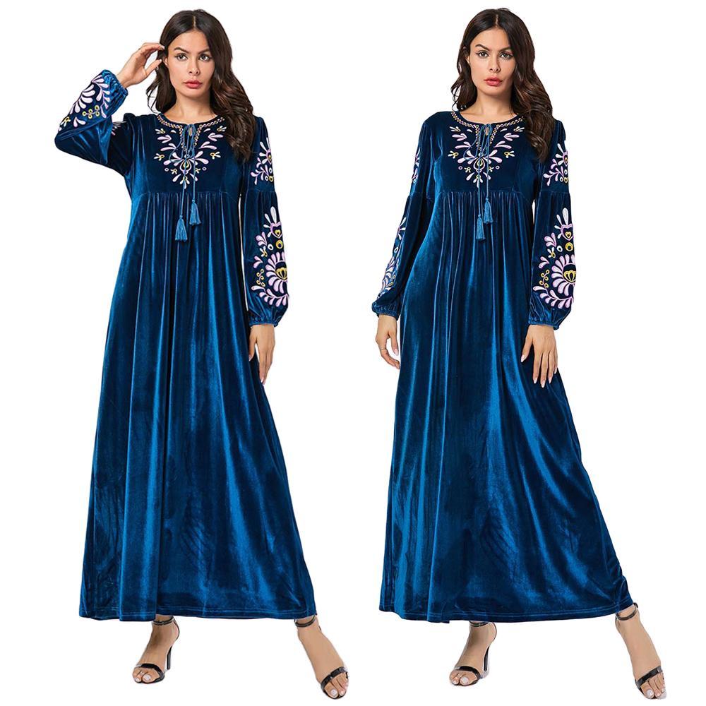 Dubaï femmes musulman velours Maxi Robe broderie caftan islamique Abaya décontracté lâche Jilbab prière longue Robe Vintage vêtements Robe