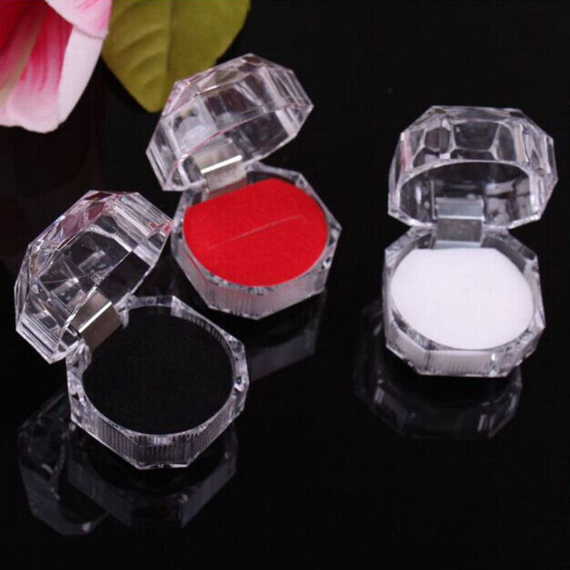 Korean-style Transparent Crystal Ring Jewlery Box Acrylic 4*4 Er Ding He Yiwu Manufacturers Direct Selling Wholesale
