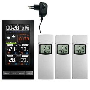 Image 1 - Digital Alarm Wall Clock Weather Station Indoor Outdoor Temperature Humidity Pressure Wind Weather Forecast 3 Outdoor Sensors