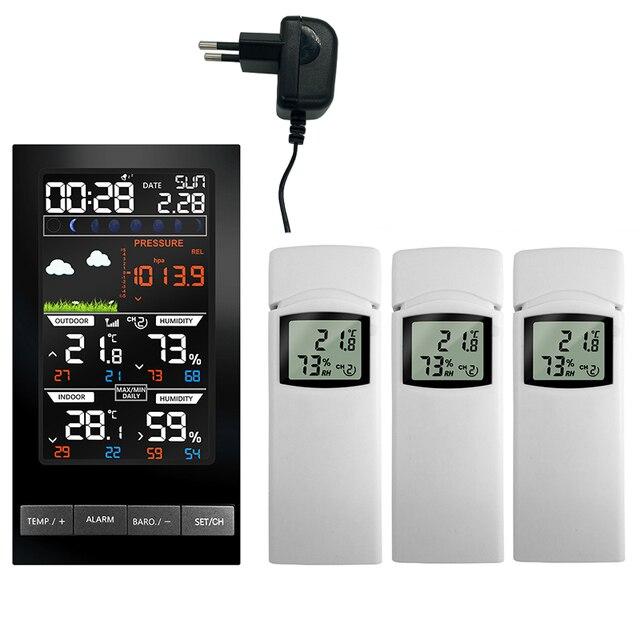 Digital Alarm Wall Clock Weather Station Indoor Outdoor Temperature Humidity Pressure Wind Weather Forecast 3 Outdoor Sensors