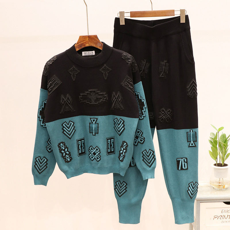 Fashion Woman Tracksuit 2019 Autumn Winter Two Piece Set Matching Knitted Suit Women Embroidery Long Sleeve Knit Top And Pants
