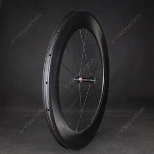 Image 2 - Time Trial Dimple ล้อ Aerodynamic ด้านหน้าและด้านหลัง 80 มม.2 ปี Clincher/ยางถนนจักรยานคาร์บอนล้อ 700C แผนที่จักรยาน