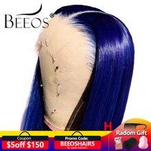 Beeos цветные синие 150% 13*6 кружевные передние человеческие волосы, предварительно отобранные волосы, бразильский кружевной парик с детскими волосами Remy