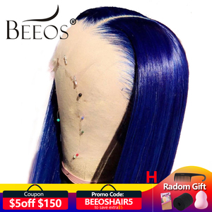 Beeos Colored Blue 150% 13*4 Lace Front Human Hair Wigs Pre Plucked Hairline Brazilian Lace Wig with Baby Hair Remy(China)