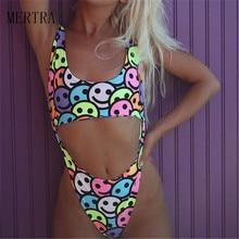 2019 Europe and the United States new sexy Siamese print smiley watermelon bikini wish explosion female swimsuit bikini стоимость