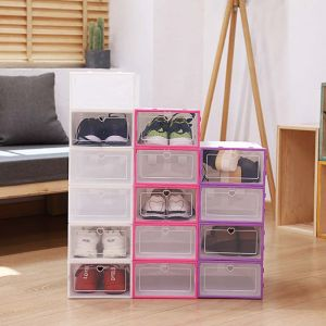 Image 5 - 6Pcs Plastic Shoe Box Stackable Foldable Shoe Organizer Drawer Storage Case with Flipping Clear Door Ladies Men 31.5x21.5x12.5cm