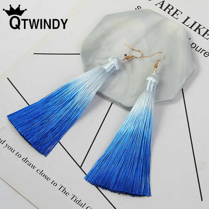 Qtian Vintage Tassel Earrings Geometric Silver Color For Women Fashion Brand Jewelry Simple Dangle Drop Earrings Wedding