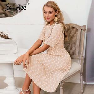 Image 5 - Simplee elegancka, w kropki drukuj kobiety letnia sukienka z krótkim rękawem wzburzyć szarfy kobiece midi sukienka perłowe guziki linia damska zielona sukienka
