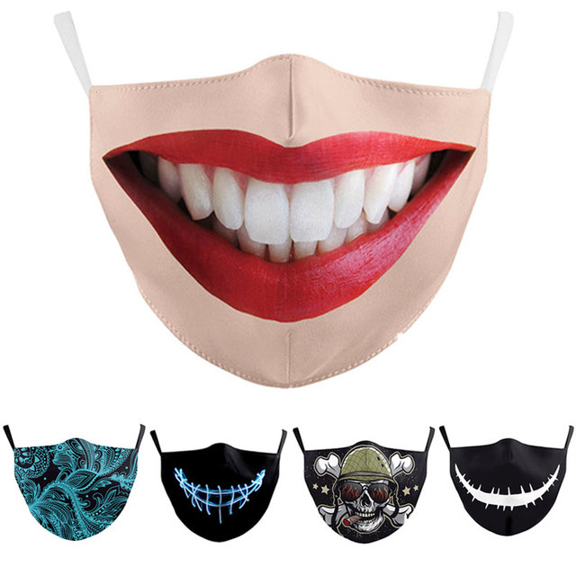 2pcs Unisex Funny Big Mouth Red Lips Print Face Mask Cloth Adult Protective PM 2.5 Dust Mouth Cover Washable Reusable Mouth Mask