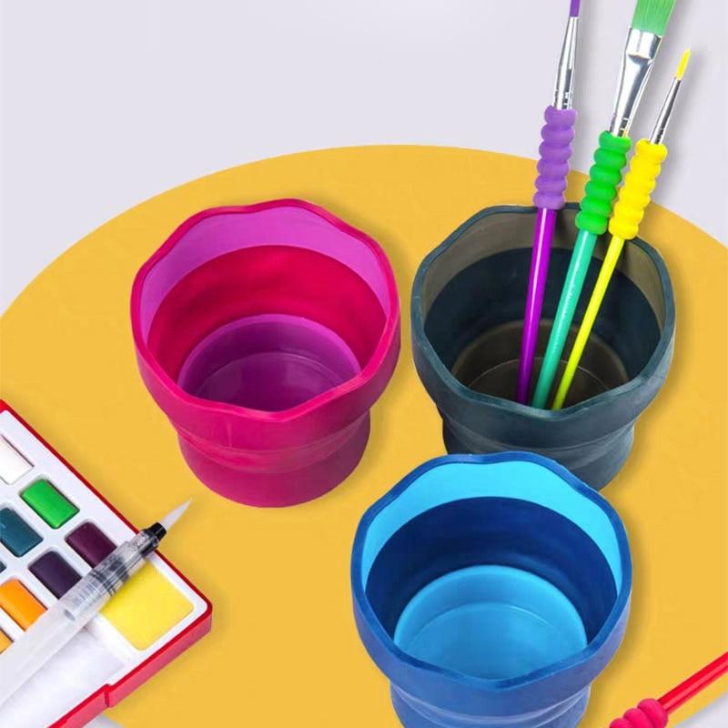 Foldable Portable Wash Pen Barrel Gouache Watercolor Paint Brush Cleaning Bucket Multifunctional Silicone Pen Barrel