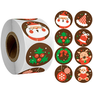 500pcs/roll Christmas Gifts Box Labels Decor Merry Christmas Stickers Santa Claus Elk Candy Bag Sealing Sticker 2021 New Year