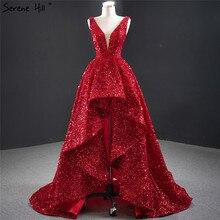 Dubai vermelho deep v luxo sexy vestidos de noite 2020 sem mangas lantejoulas assimétrico vestido formal sereno hill hm67126