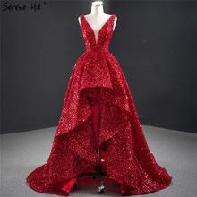 Dubaj Red deep v luksusowe seksowne suknie wieczorowe 2020 bez rękawów cekiny asymetryczna suknia Serene Hill HM67126
