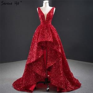 Image 1 - דובאי אדום עמוק V יוקרה סקסי ערב שמלות 2020 שרוולים פאייטים סימטרי פורמליות שמלת Serene היל HM67126