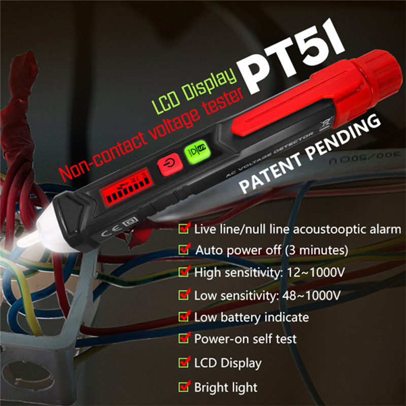 ET8900 AC/DC Digital Display Multi-function Induction Test Pencil Sound/Light Alarm AC / 12~1000V Non-Contact Voltage Detector