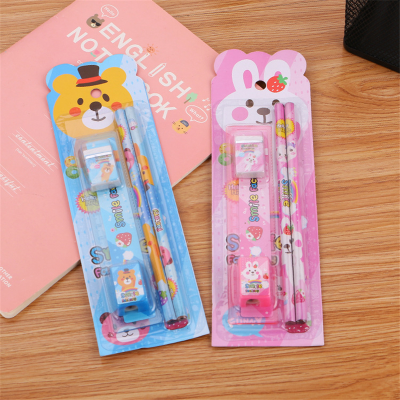 Cute 5 piece set stationery cartoon animal pencil eraser for kids creative prizes gifts for students colored ruler school supply