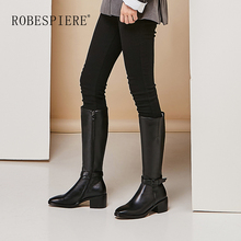 ROBESPIERE New Winter Warm Plush Boots Women Quality Cow Leather Classics Square Toe Large Size Shoes Buckle Knee High Boots B15 fp75r12ke3 fp75r12kt3 fp75r12kt4 b15 new original