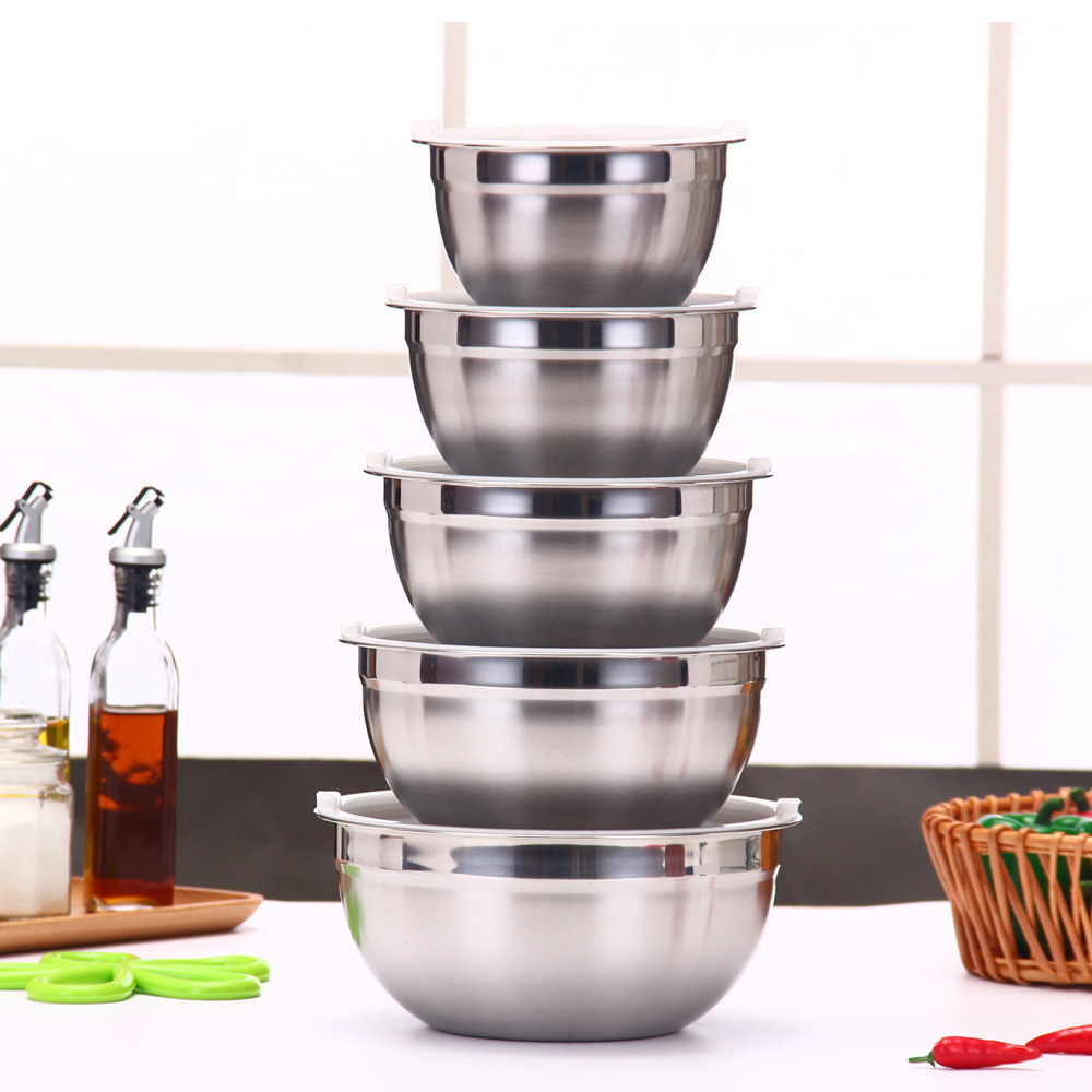 Silicone Stainless Steel Egg Beater Salad Bowl with Lid Multi-color sha la pen Five-Piece Seven Set Salad Bowl