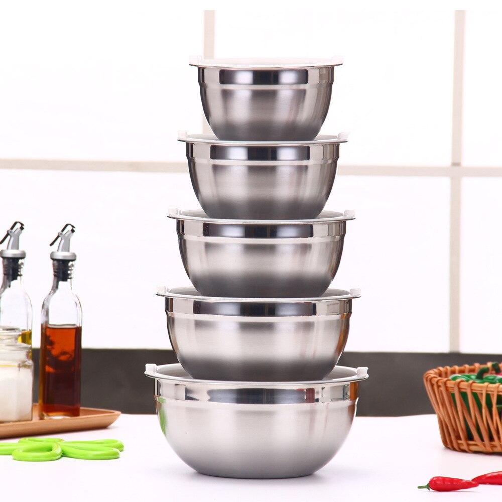 Silicone Stainless Steel Egg Beater Salad Bowl With Lid Multi-color Sha La Pen Five-Piece Seven Set Salad Bowl