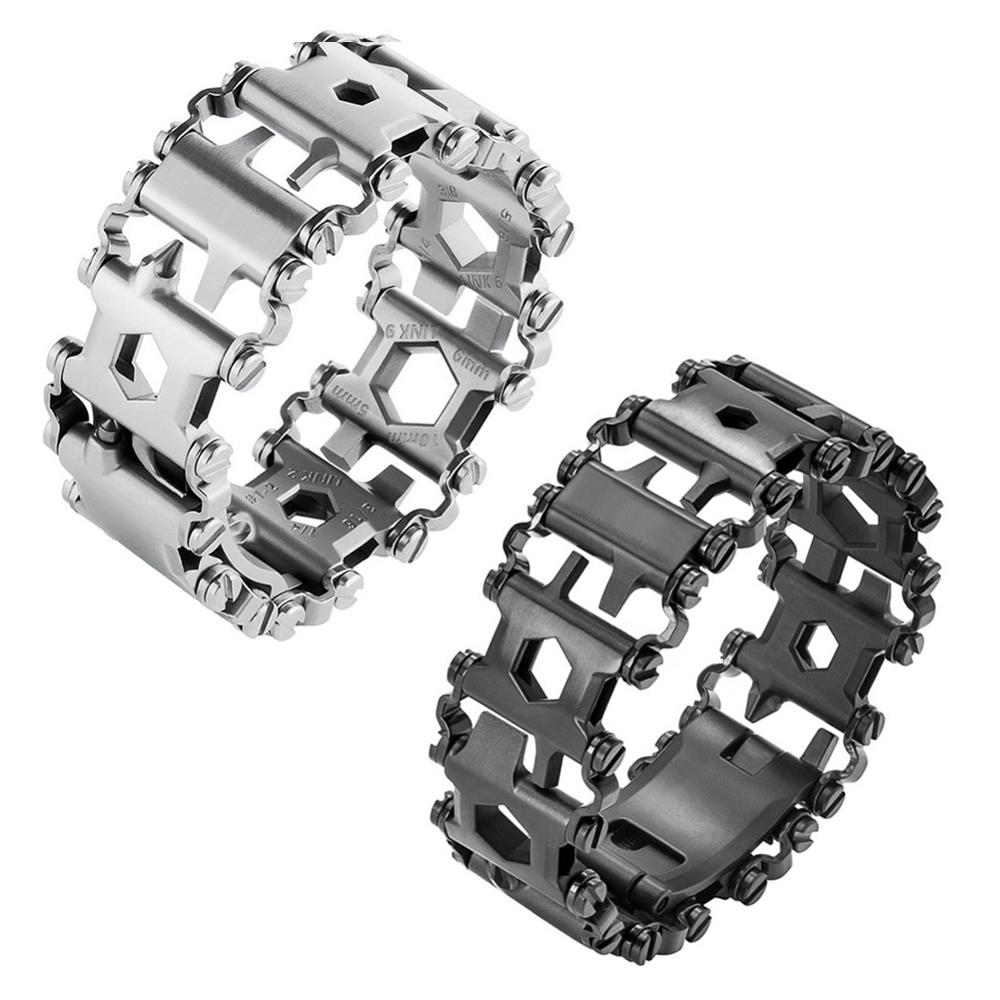 29 In 1 EDC Multifunctional Tread Bracelet Stainless Steel Multi-Tool For Outdoor Camping Hiking Multitool