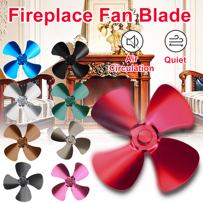 Multiple Colour Aluminum Alloy 4 Blade Heat Powered Stove Fan Blade Home Komin Log Wood Burner Eco Quiet Fan Blade Replacement