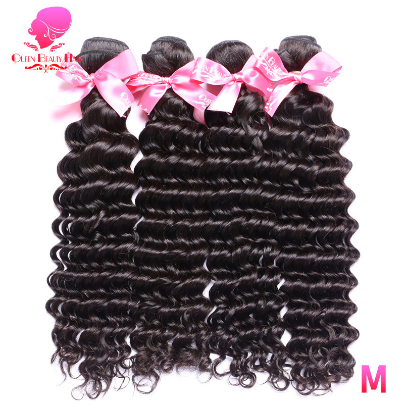 Tissage en lot brésilien naturel Deep Wave Double trame-QUEEN BEAUTY, couleur naturelle, 100% Remy, cheveux humains, lot de 3/4