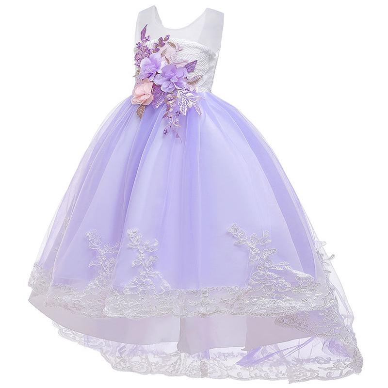 Flower Girl's Wedding Party And Ground Tail Long Dresses New Flower Boy Dance Performance Party Jacquard Tail Dresses