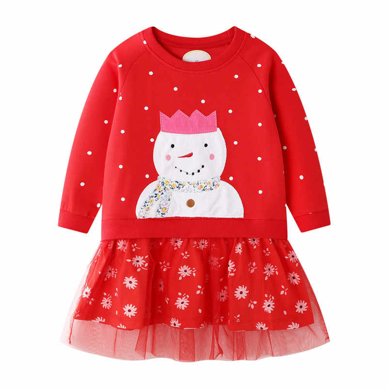 Jumping Meters Children Girls Tutu Dresses Applique Snowman Baby Christmas Dress Princess New Year Party Dress for Kids Girls
