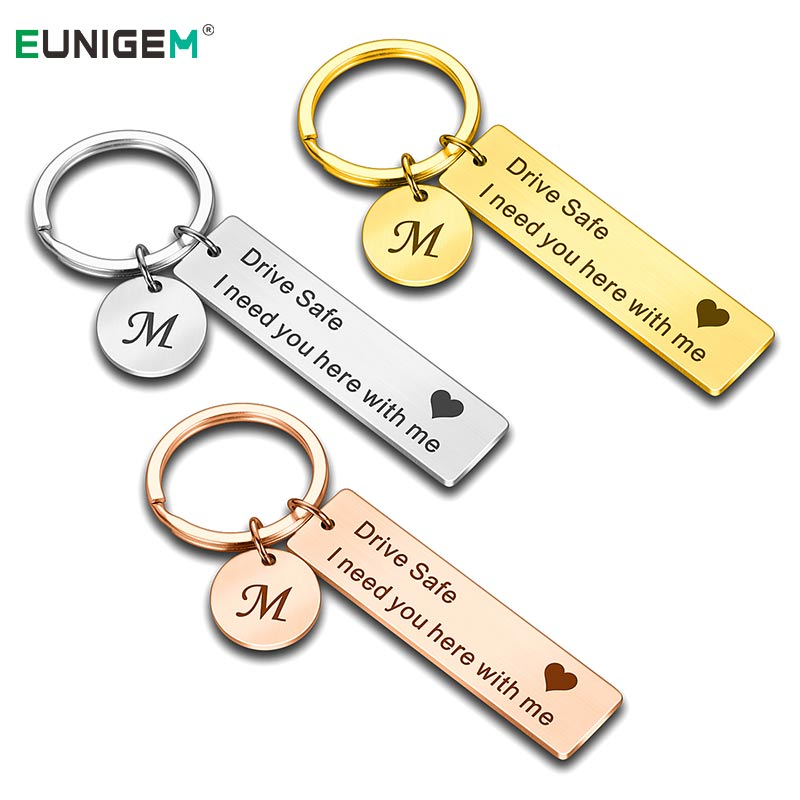 Custom Drive Safe Keychain A-Z 26 Initials Lettering Men Women Boyfriend Husband Key Chain Birthday Chritsmas Father's Day Gifts